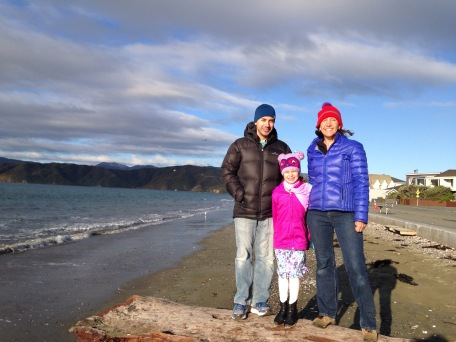 Mike, Juliana and I on the beach in Wellington